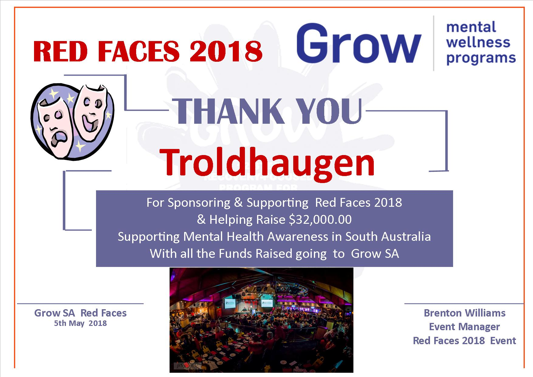 Thank You Red Faces Sponsors